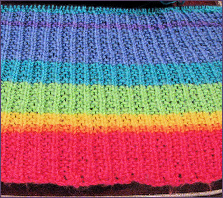 rainbow baby blanket in progress